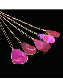 Fashion Plum Red Waterdrop Shape Decorated Long Necklace