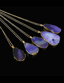 Fashion Purple Waterdrop Shape Decorated Long Necklace