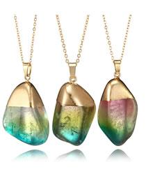 Fashion Multi-color Irregular Shape Pendant Design Long Necklace