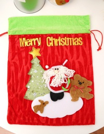 Fashion Red+green Christmas Tree&bear Decorated Gift Bag