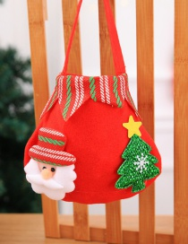 Fashion Red Christmas Tree Shape Decorated Gift Bag