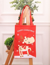 Fashion Red+brown Elk Pattern Decorated Christmas Gift Bag
