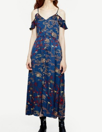 Fashion Multi-color Flowers Pattern Decorated A-line Dress