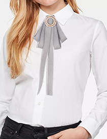 Fashion Gray Full Pearls Decorated Bowknot Brooch