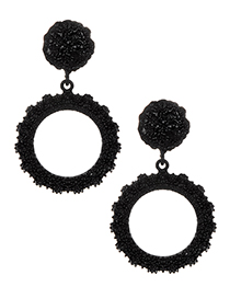 Fashion Black Circular Ring Design Pure Color Earrings