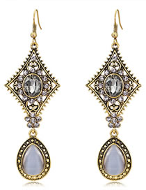 Elegant Antique Silver Hollow Out Design Long Earrings