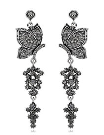 Elegant Black Butterfly Shape Design Long Earrings