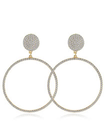 Elegant Gold Color Full Diamond Design Round Shape Earrings
