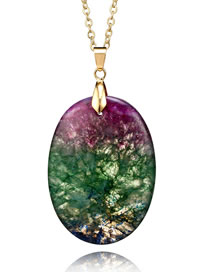 Fashion Purple+green Oval Shape Pendant Decorated Necklace
