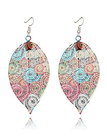 Fashion Multi-clor Hollow Out Lesf Shape Design Earrings
