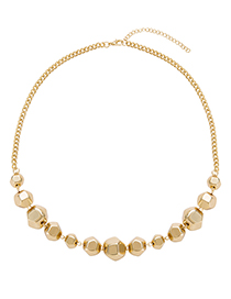 Fashion Gold Color Full Beads Decorated Pure Color Choker