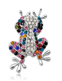 Fashion Multi-color Frog Shape Decorated Brooch