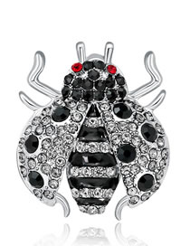 Fashion Silver Color Ladybug Shape Decorated Brooch