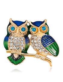 Fashion Multi-color Owl Shape Decorated Brooch