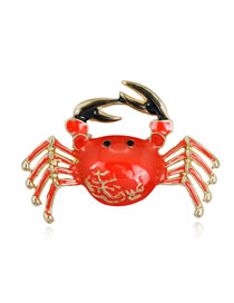 Fashion Red Crab Shape Decorated Brooch