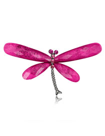 Fashion Plum Red Dragonfly Shape Decorated Brooch