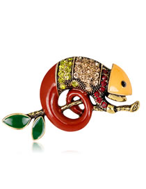 Fashion Red Insect Shape Decorated Brooch