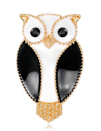 Fashion White+black Owl Shape Decorated Brooch