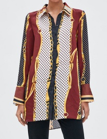 Fashion Multi-color Chains Pattern Decorated Long Sleeves Shirt