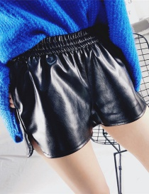 Fashion Black Pure Color Decorated High Waist Shorts