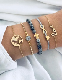 Fashion Gold Color Letter Pattern Decorated Bracelets