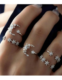Fashion Silver Color Flower Shape Decorated Rings Set