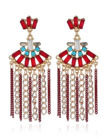 Fashion Red Full Diamond Decorated Tassel Earrings