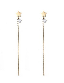 Fashion Gold Color Star Shape Decorated Tassel Earrings