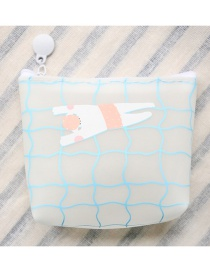 Fashion White Grids Pattern Decorated Coin Purse