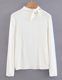 Fashion White Bowknot Shape Decoreated Shirt