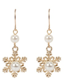 Fashion Gold Color Snowflake Shape Decorated Earrings