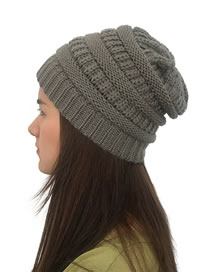 Fashion Dark Gray Stripe Pattern Decorated Pure Color Hat