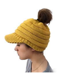 Fashion Yellow Pure Color Decorated Hat