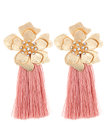 Fashion Gold Color+pink Flower Shape Decorated Tassel Earrings