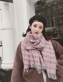 Fashion Pink Grids Patter Decorated Scarf