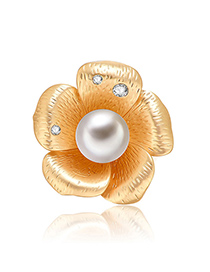 Fashion Gold Color Flower Shape Design Brooch