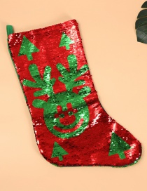 Fashion Red+green Deer Pattern Decorated Christmas Sock