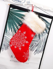 Fashion Red Snowflake Pattern Decorated Christmas Sock