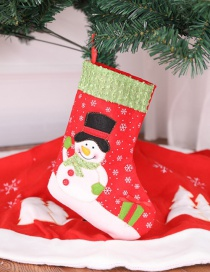 Fashion Red Snowman Pattern Decorated Christmas Sock