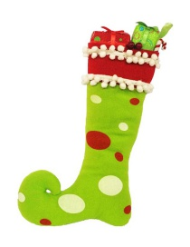 Fashion Green Dots Pattern Decorated Christmas Sock