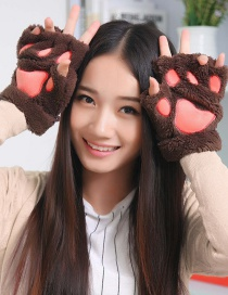Fashion Brown Bear Paw Shape Design Gloves