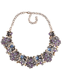 Fashion Dark Purple Full Diamond Decorated Necklace
