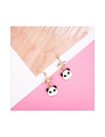 Simple White+black Panda Shape Decorated Earrings