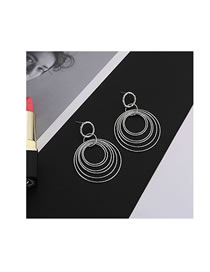 Fashion Silver Color Ring Shape Decorated Earrings