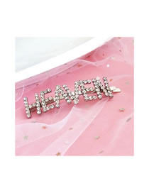 Fashion Silver Color Letter Shape Decorated Pure Color Hair Clip