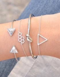Fashion Silver Color Triangle Shape Decorated Bracelet (4 Pcs)