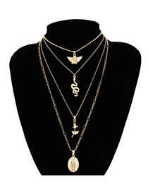 Simple Gold Color Flower&snake Shape Decorated Necklace