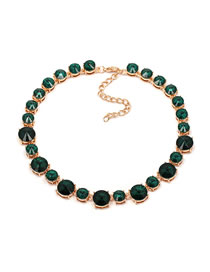 Fashion Green Diamond Decorated Necklace