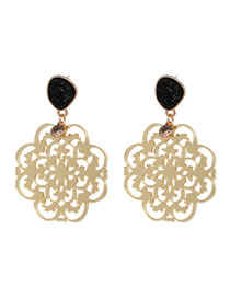 Fashion Black Hollow Out Design Pure Color Earrings