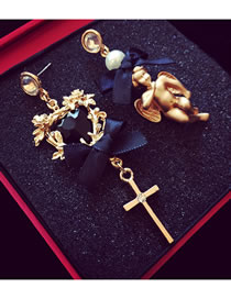 Fashion Gold Color Cross&angel Shape Decorated Earrings